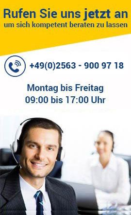 Wir beraten Sie gerne von Montag bis Freitag 09:00 bis 17:00 Uhr